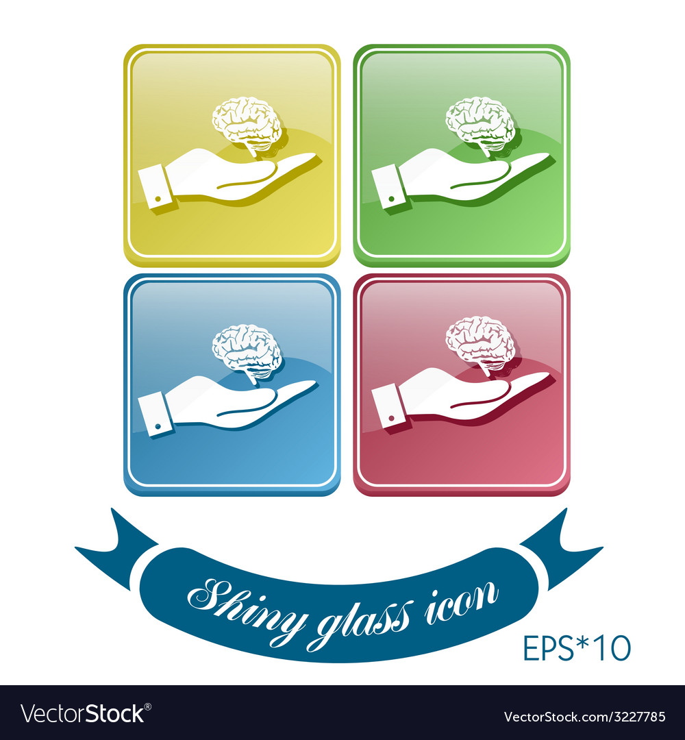 Hand holding a brain mind and science vector | Price: 1 Credit (USD $1)