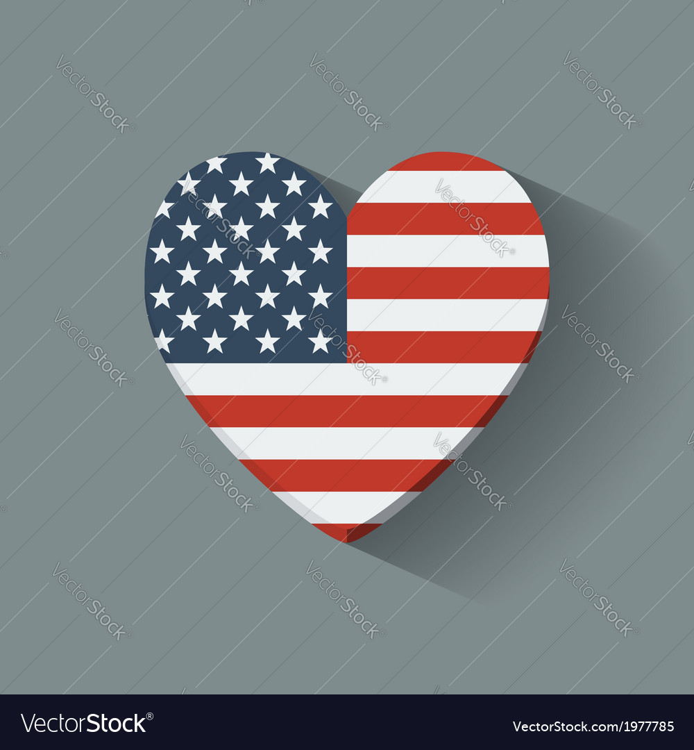 Heart-shaped icon with flag of the usa vector | Price: 1 Credit (USD $1)