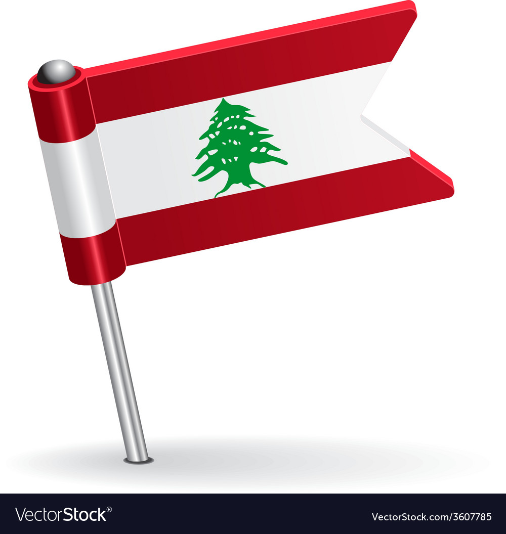 Lebanese pin icon flag vector | Price: 1 Credit (USD $1)