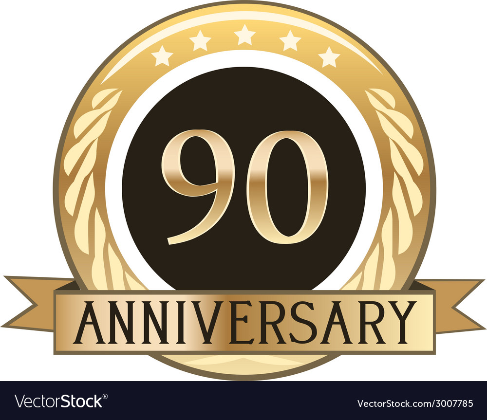 Ninety year anniversary badge vector | Price: 1 Credit (USD $1)