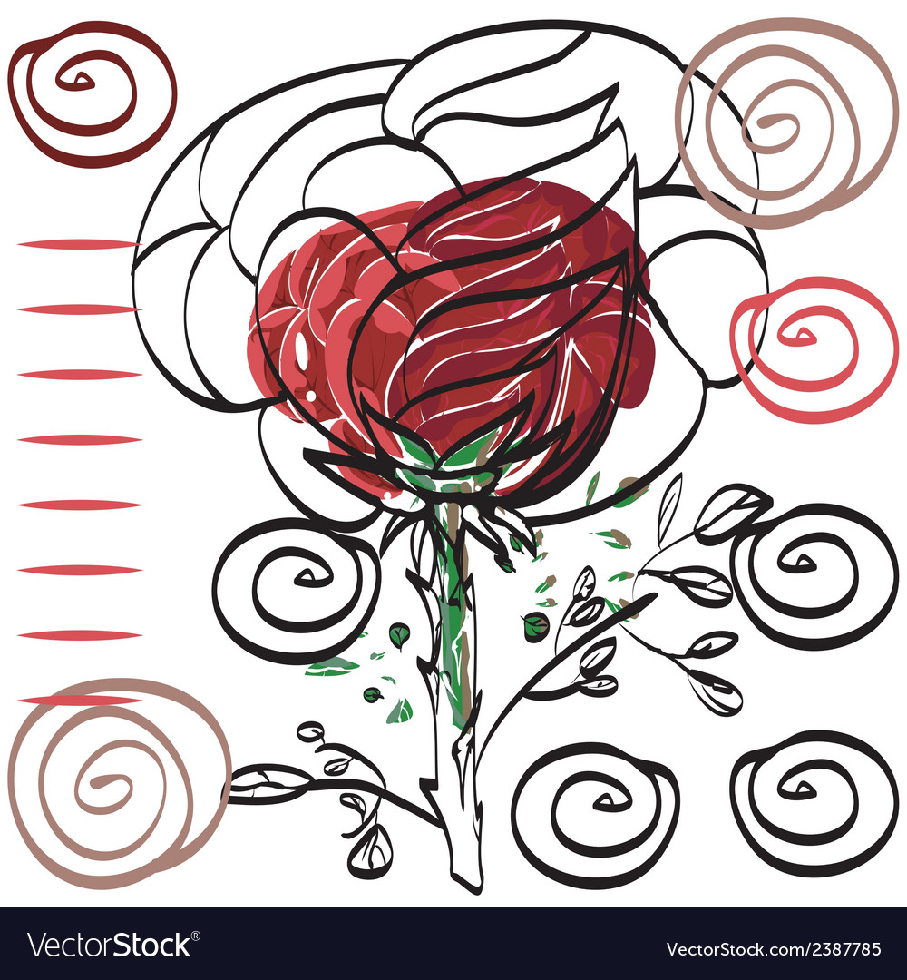 Nothing significant contour drawing rose card for vector | Price: 1 Credit (USD $1)