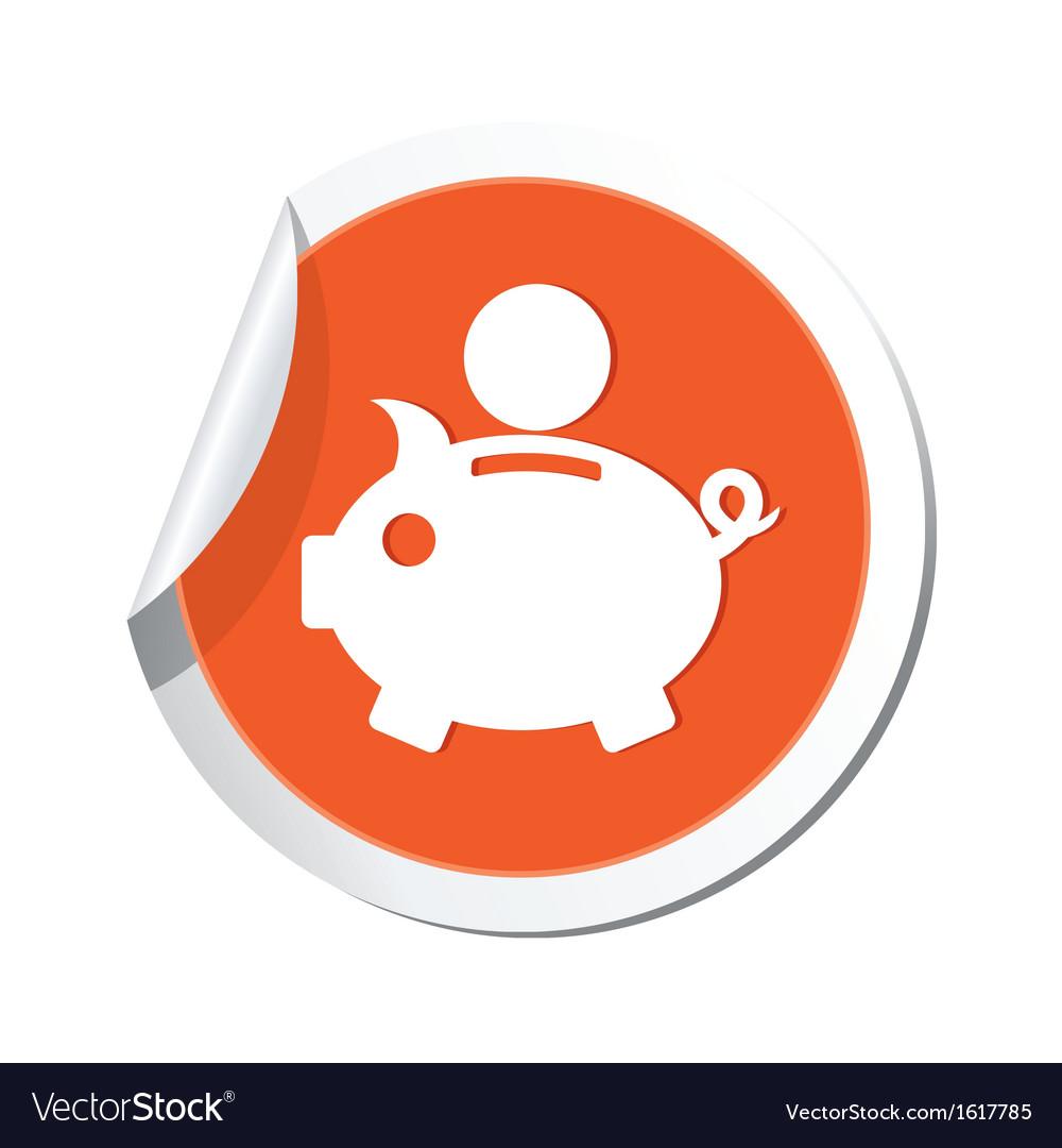 Piggy bank icon orange label vector | Price: 1 Credit (USD $1)