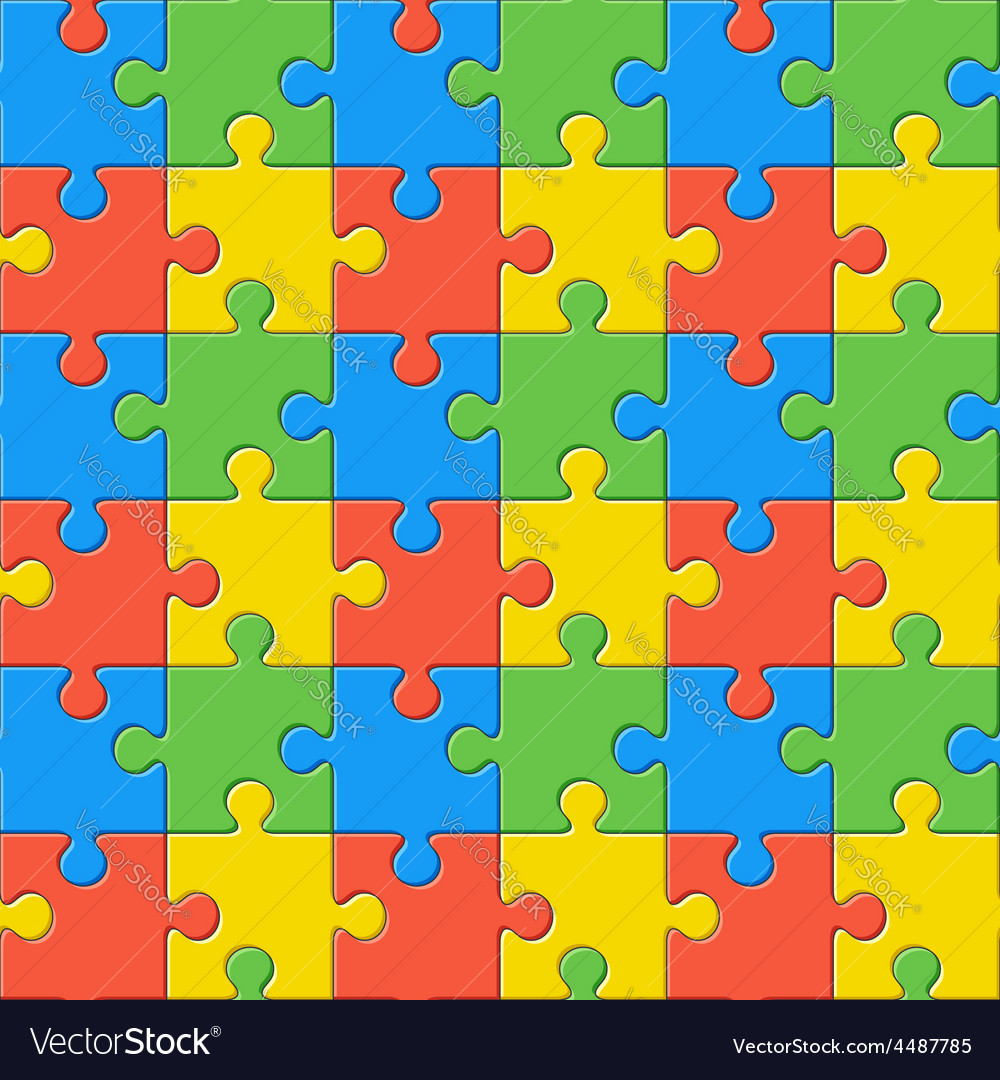 Puzzles seamless color pattern vector | Price: 1 Credit (USD $1)