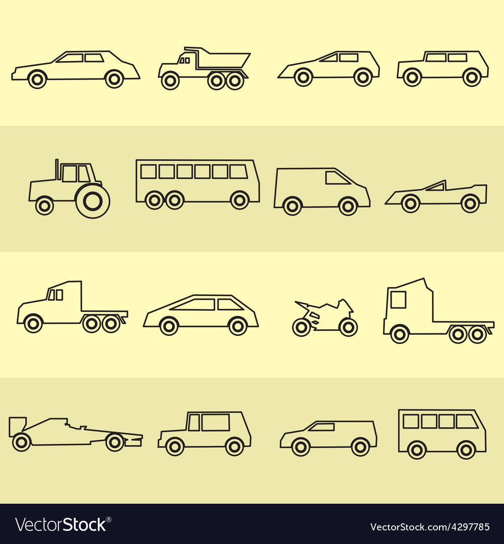 Simple cars black outline icons collection eps10 vector | Price: 1 Credit (USD $1)