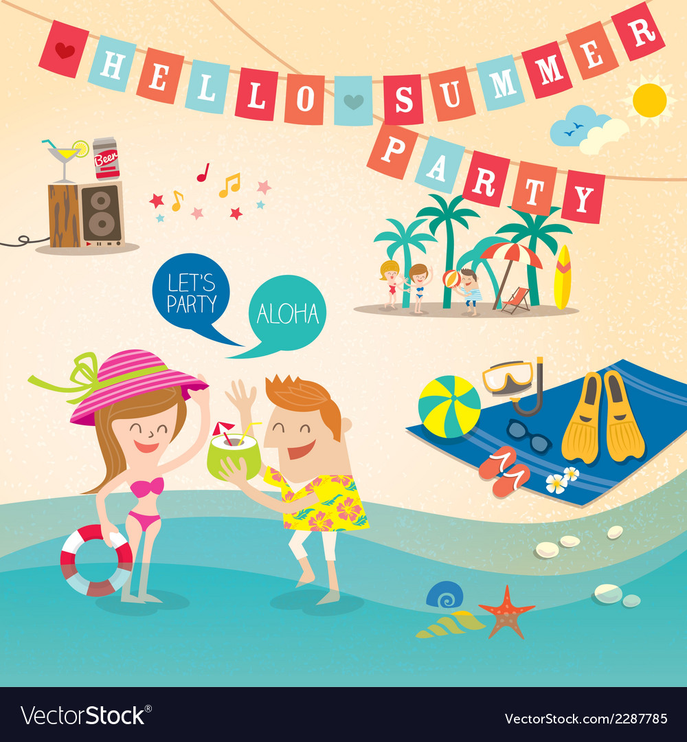 Summer cartoon elements on beach background vector | Price: 1 Credit (USD $1)