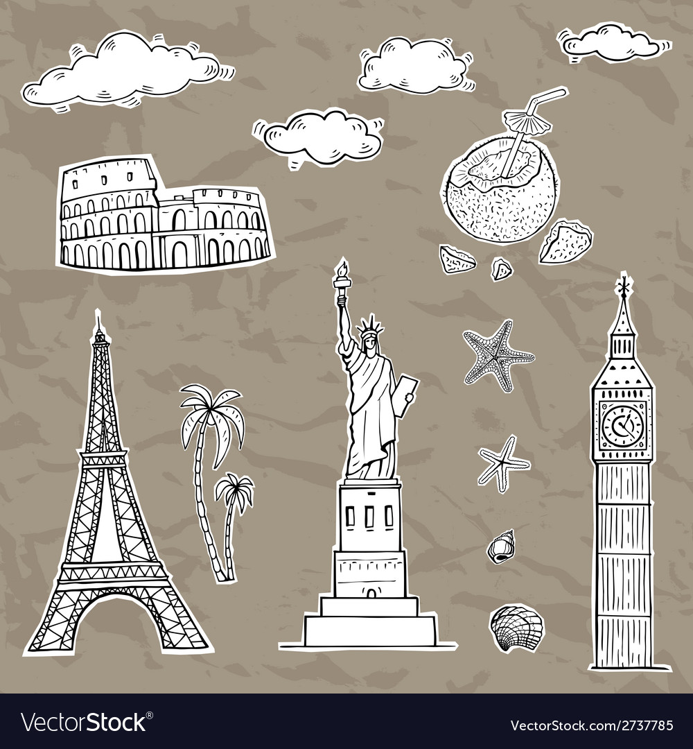 Travel and tourism labels collection vector   Price: 1 Credit (USD $1)