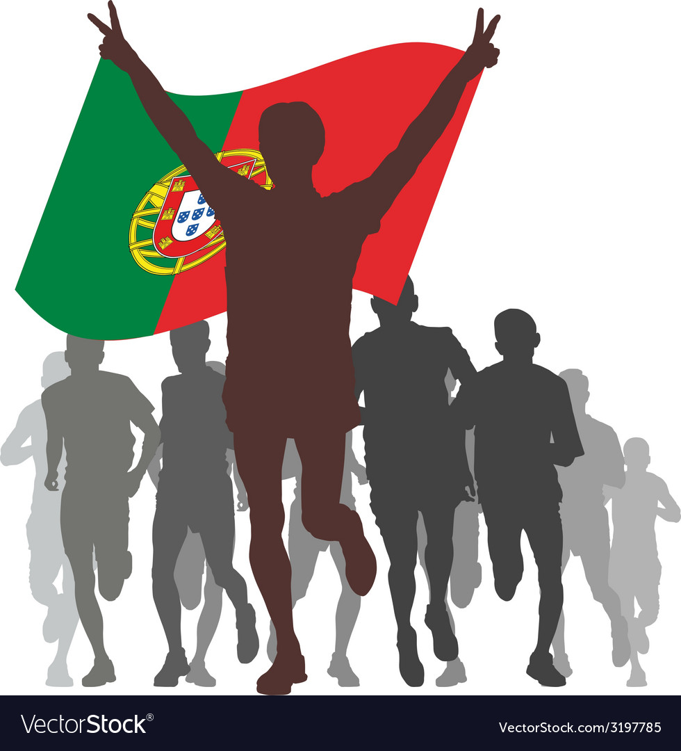 Winner with the portugal flag at the finish vector | Price: 1 Credit (USD $1)