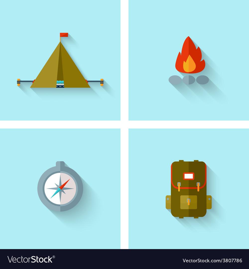 Camping adventure icons set flat design vector | Price: 1 Credit (USD $1)