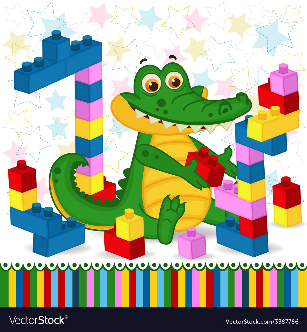 Crocodile construction plastic block vector | Price: 1 Credit (USD $1)