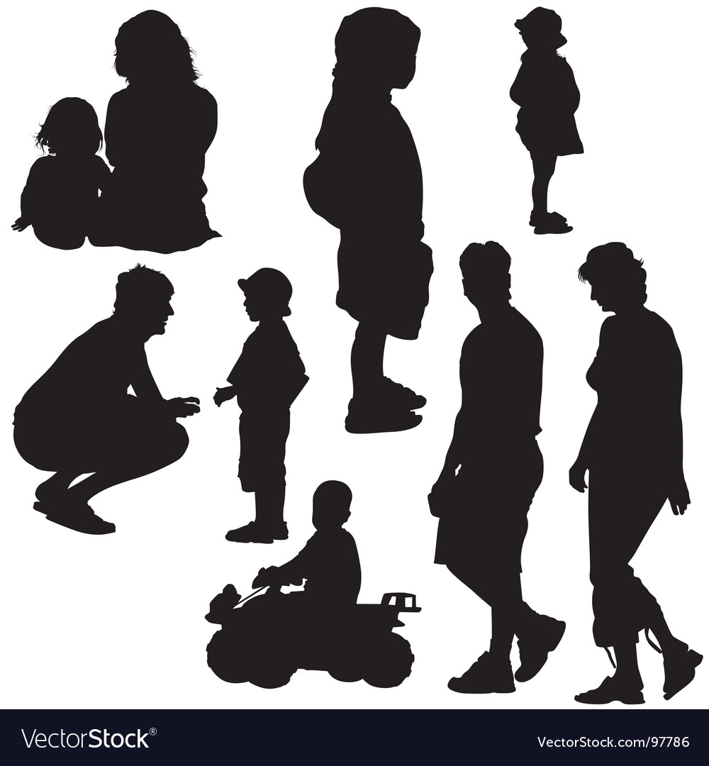 Family silhouettes vector | Price: 1 Credit (USD $1)