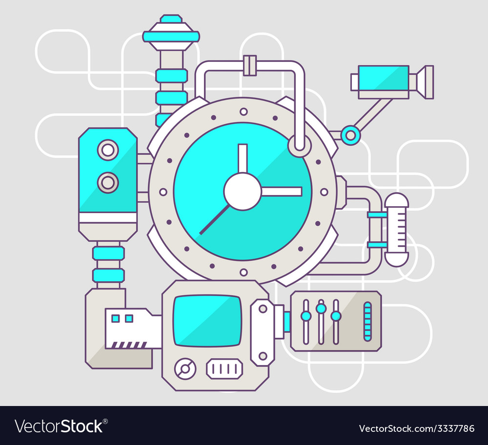 Industrial of the mechanism of clock color vector | Price: 3 Credit (USD $3)