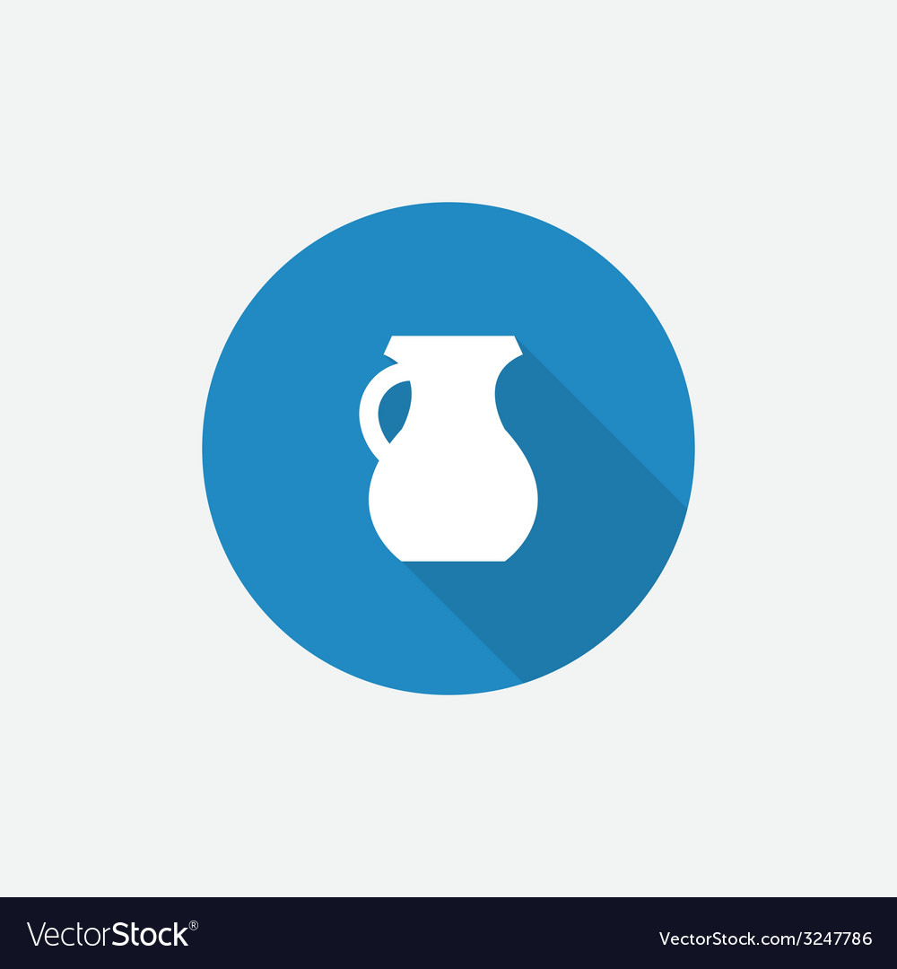 Pitcher flat blue simple icon with long shadow vector | Price: 1 Credit (USD $1)