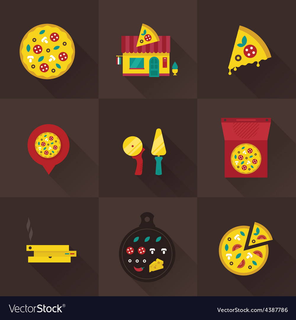 Pizza icons vector | Price: 1 Credit (USD $1)