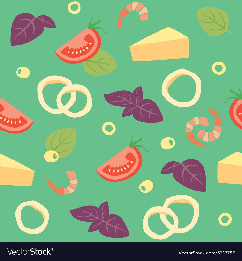 Pizza seafood pizza ai frutti di mare ingredients vector | Price: 1 Credit (USD $1)