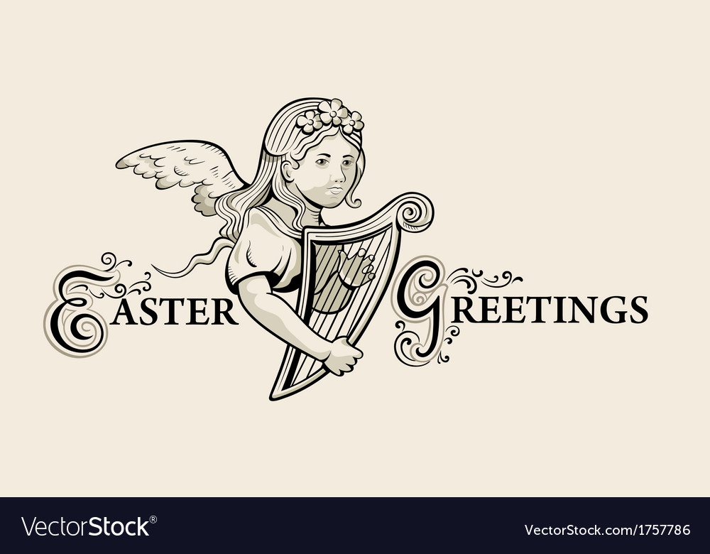 Retro easter greeting vector | Price: 1 Credit (USD $1)