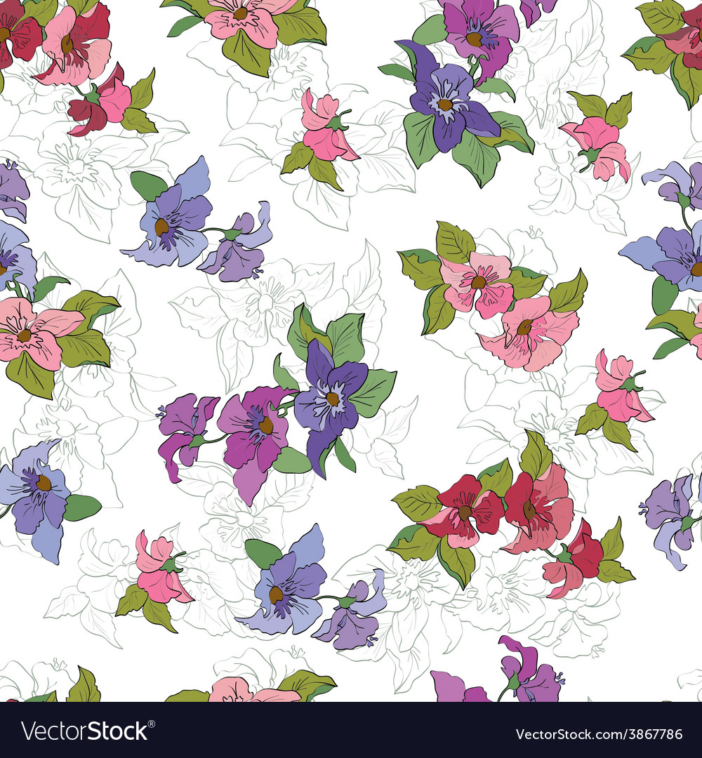 Seamless floral pattern with red anemone vector | Price: 1 Credit (USD $1)