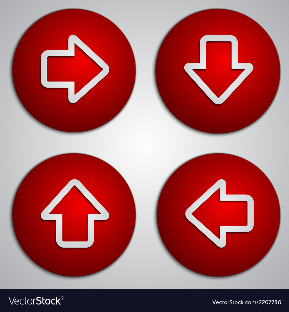 Set of round red arrow buttons with paper cut vector | Price: 1 Credit (USD $1)
