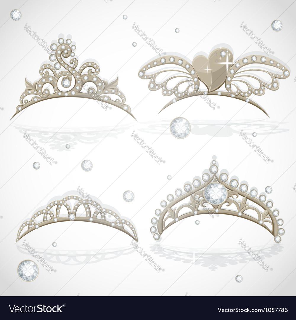 Shining gold girls tiaras with diamonds vector | Price: 1 Credit (USD $1)