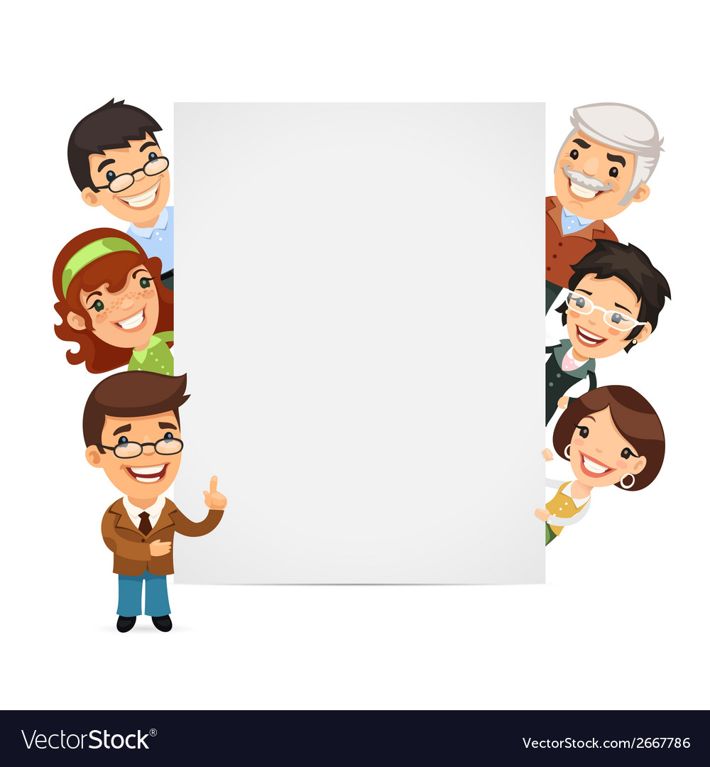 Teachers presenting empty vertical banner vector | Price: 1 Credit (USD $1)