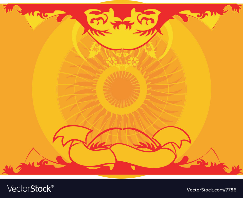 Yellow red symmetry background ornament vector | Price: 1 Credit (USD $1)