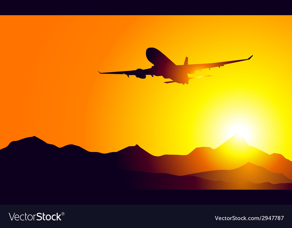 Aeroplane and sunset on mountains vector | Price: 1 Credit (USD $1)