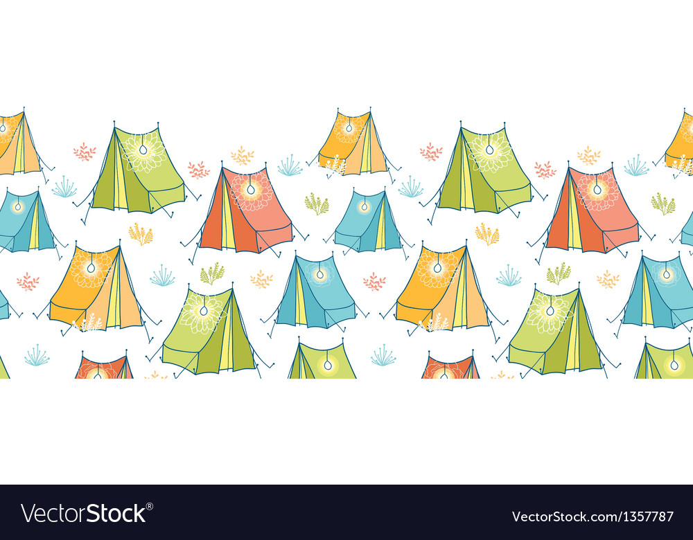 Camp tents horizontal seamless pattern background vector | Price: 1 Credit (USD $1)