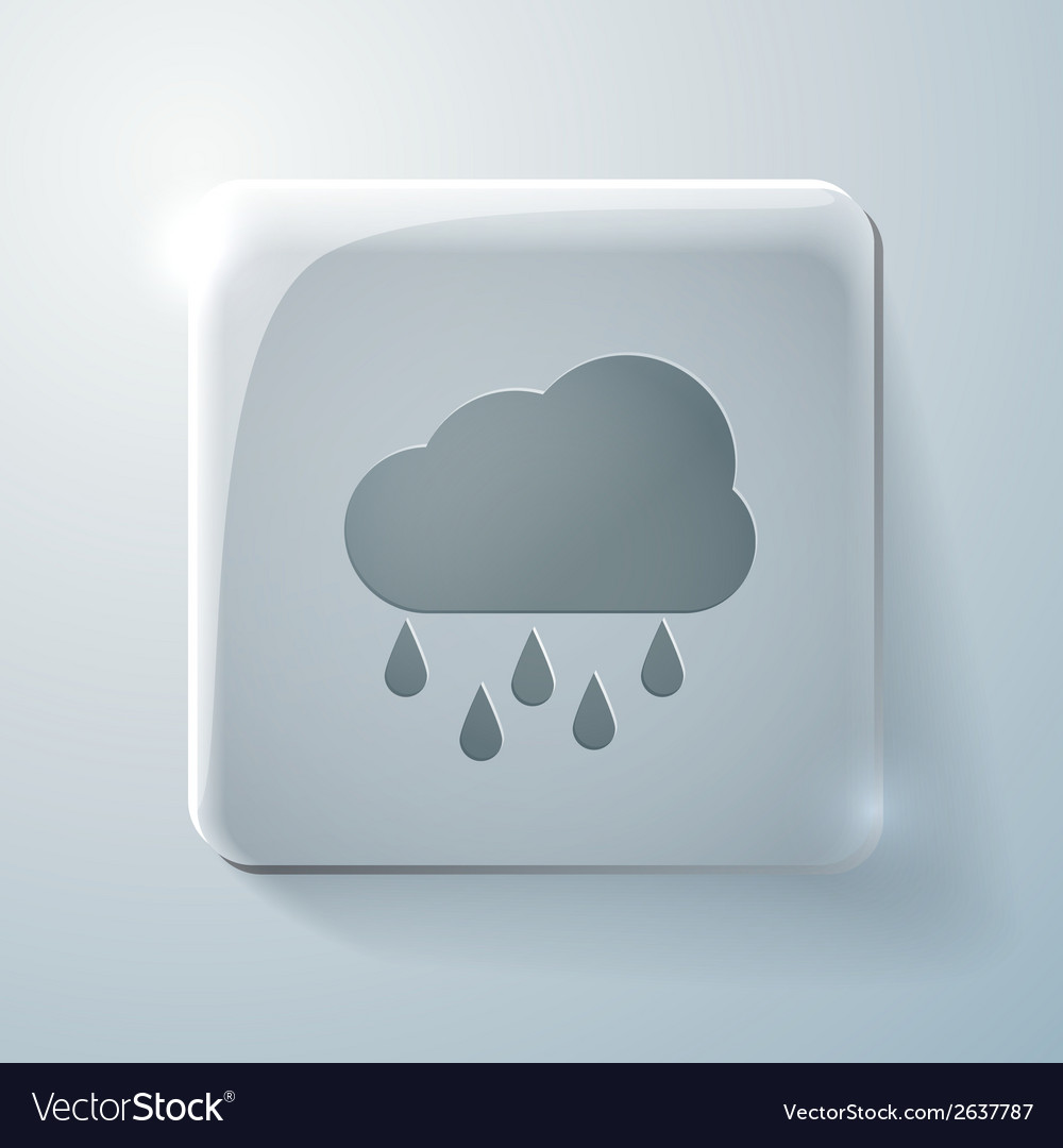 Cloud rain glass square icon vector | Price: 1 Credit (USD $1)