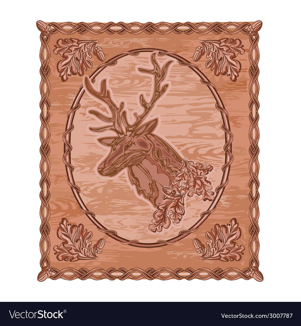 Deer and oak leaves and acorns woodcarving vector | Price: 1 Credit (USD $1)