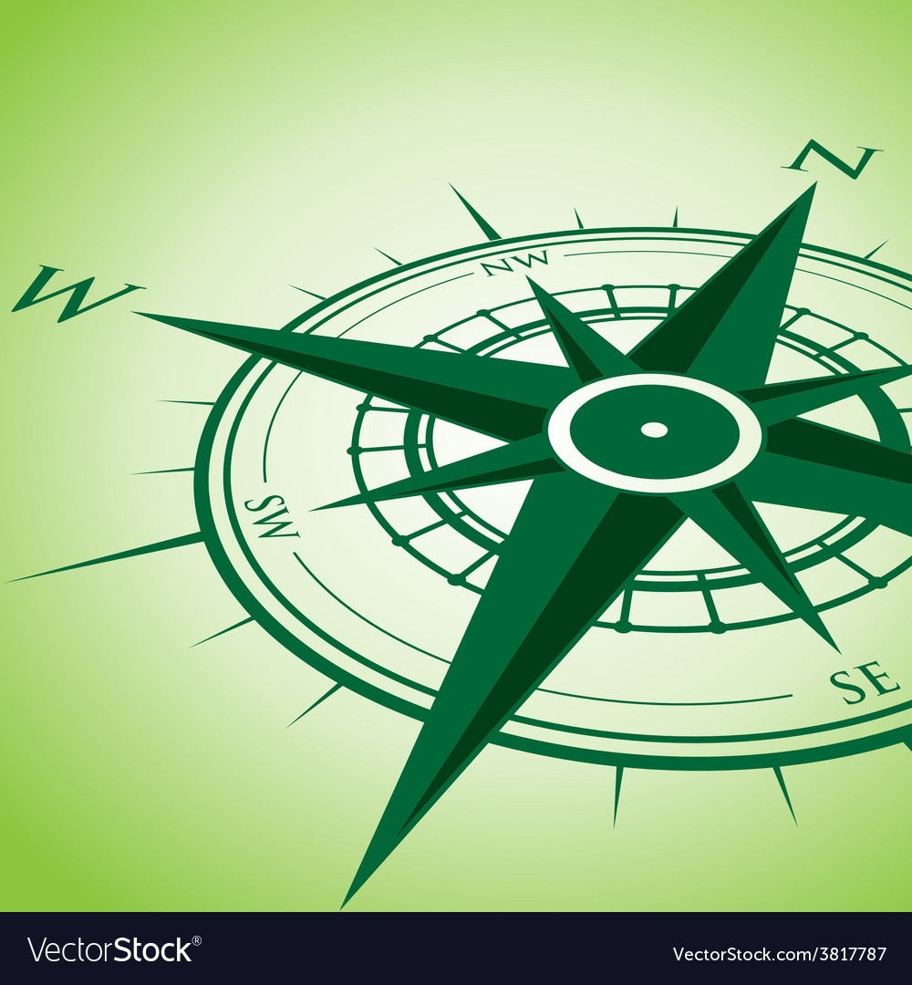 Green compass vector | Price: 1 Credit (USD $1)