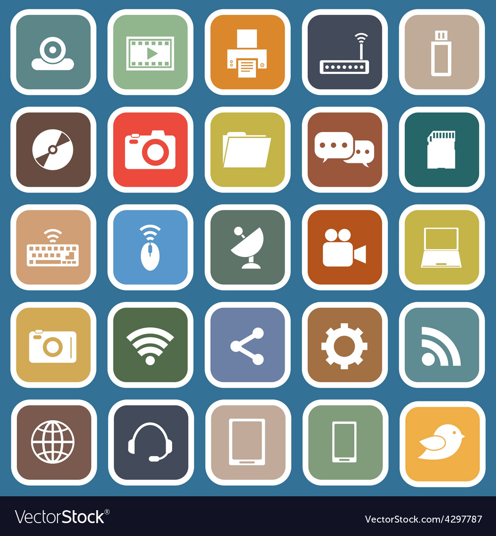 Hi tech flat icons on blue background vector | Price: 1 Credit (USD $1)