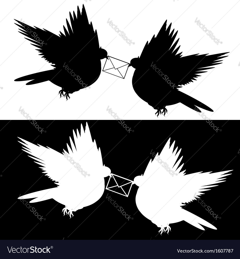 Monochrome silhouette of two doves with a letter vector | Price: 1 Credit (USD $1)