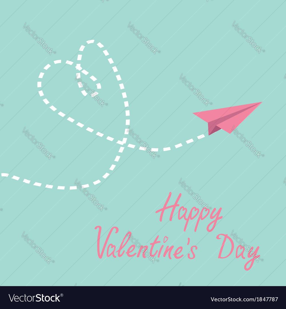 Origami paper plane dash heart valentines day vector | Price: 1 Credit (USD $1)