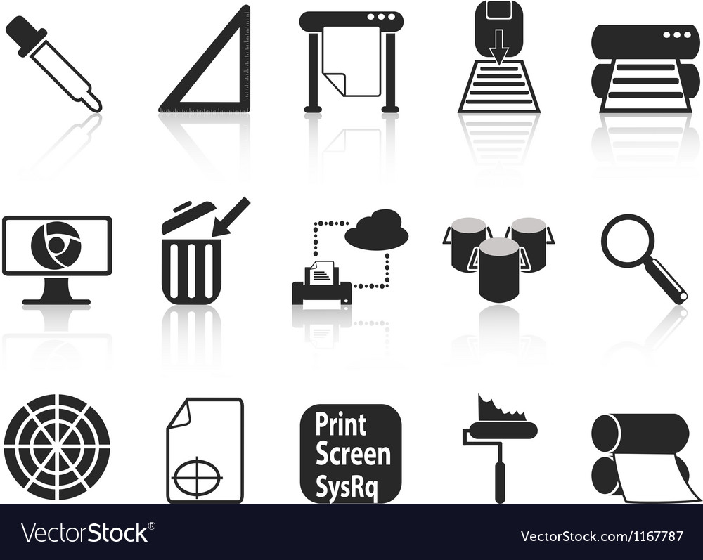 Print icons set vector | Price: 1 Credit (USD $1)
