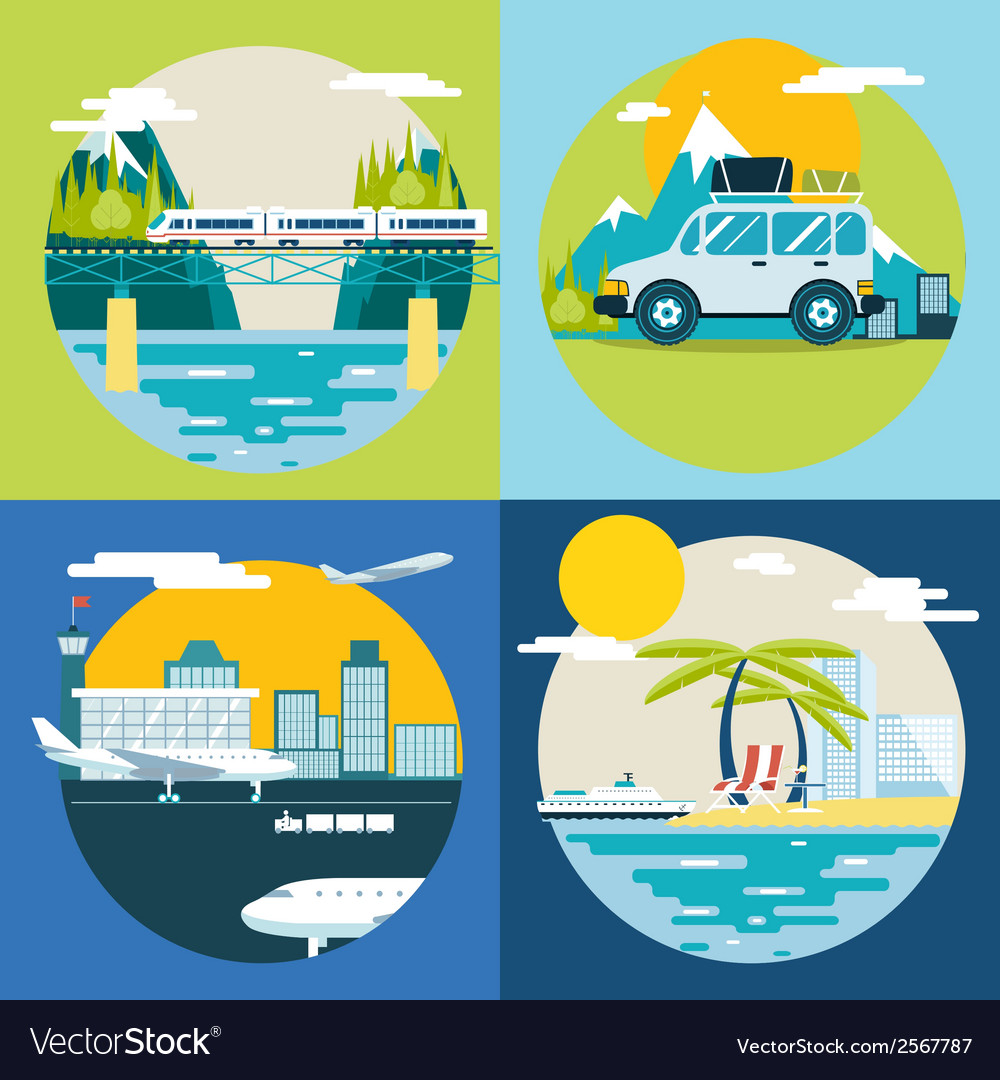 Retro planning summer vacation tourism and journey vector | Price: 1 Credit (USD $1)