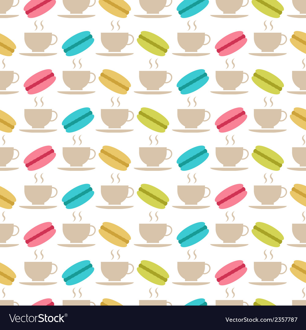 Seamless pattern of macaroons and tea vector | Price: 1 Credit (USD $1)