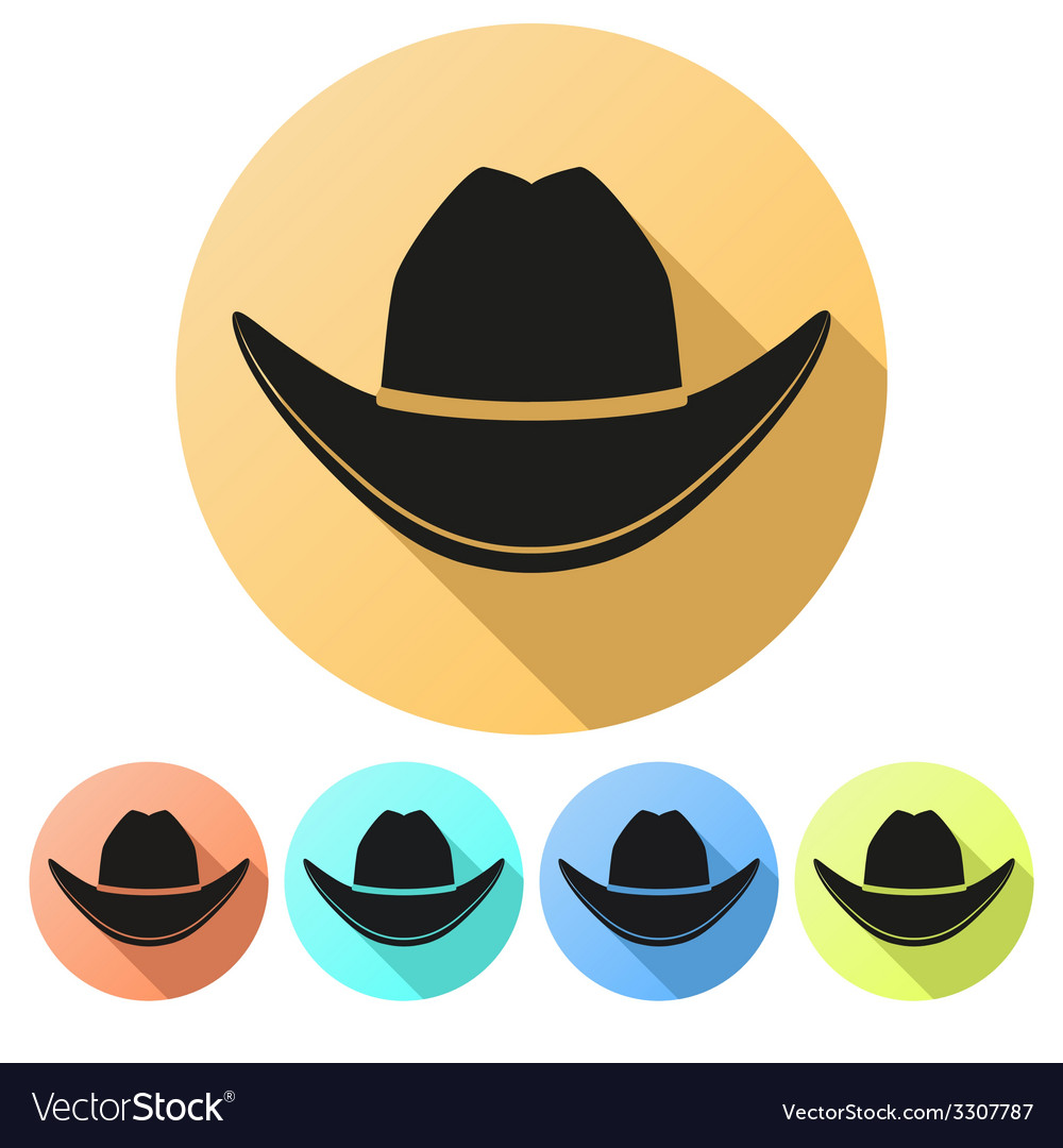 Set flat icons of black cowboy hat vector | Price: 1 Credit (USD $1)