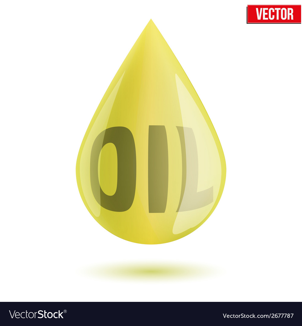 Shiny olive oil drop isolated on white background vector | Price: 1 Credit (USD $1)