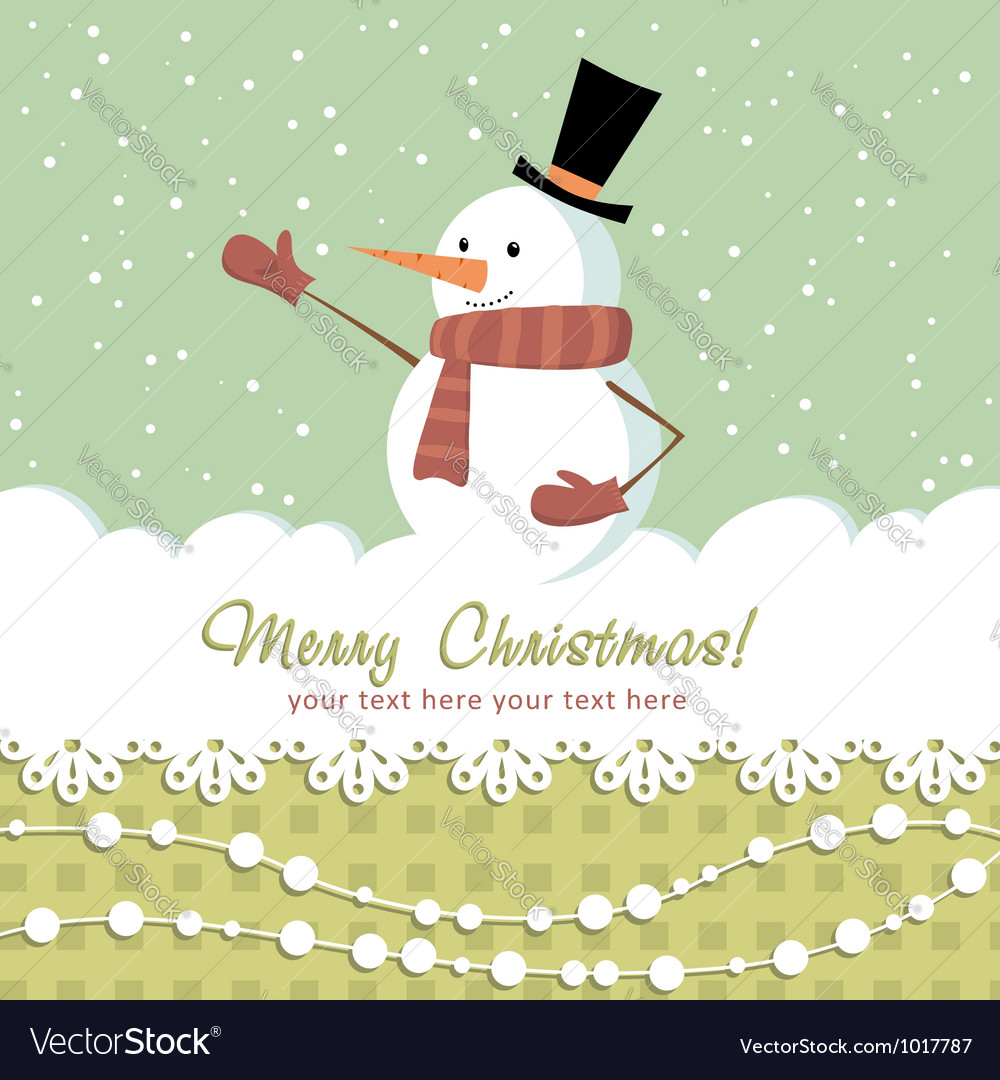 Snowman card green vector | Price: 1 Credit (USD $1)