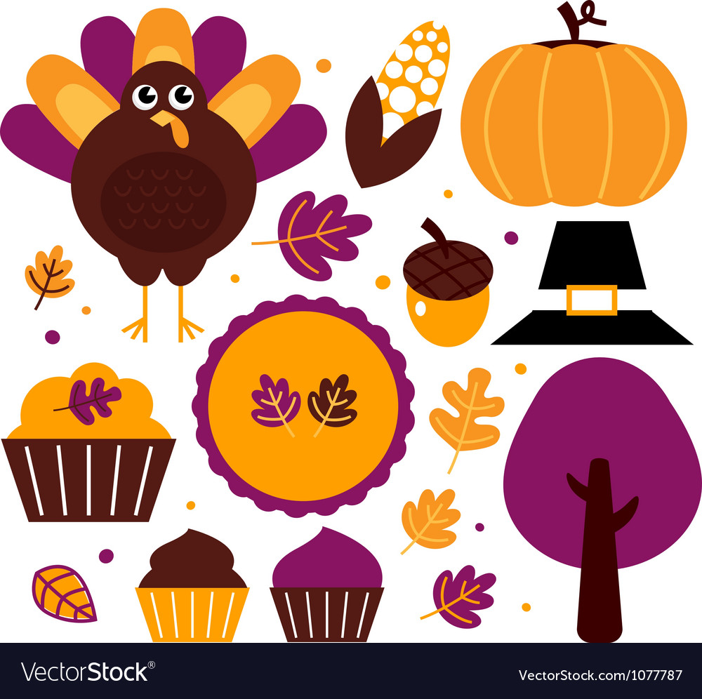 Thanksgiving design elements vector | Price: 1 Credit (USD $1)