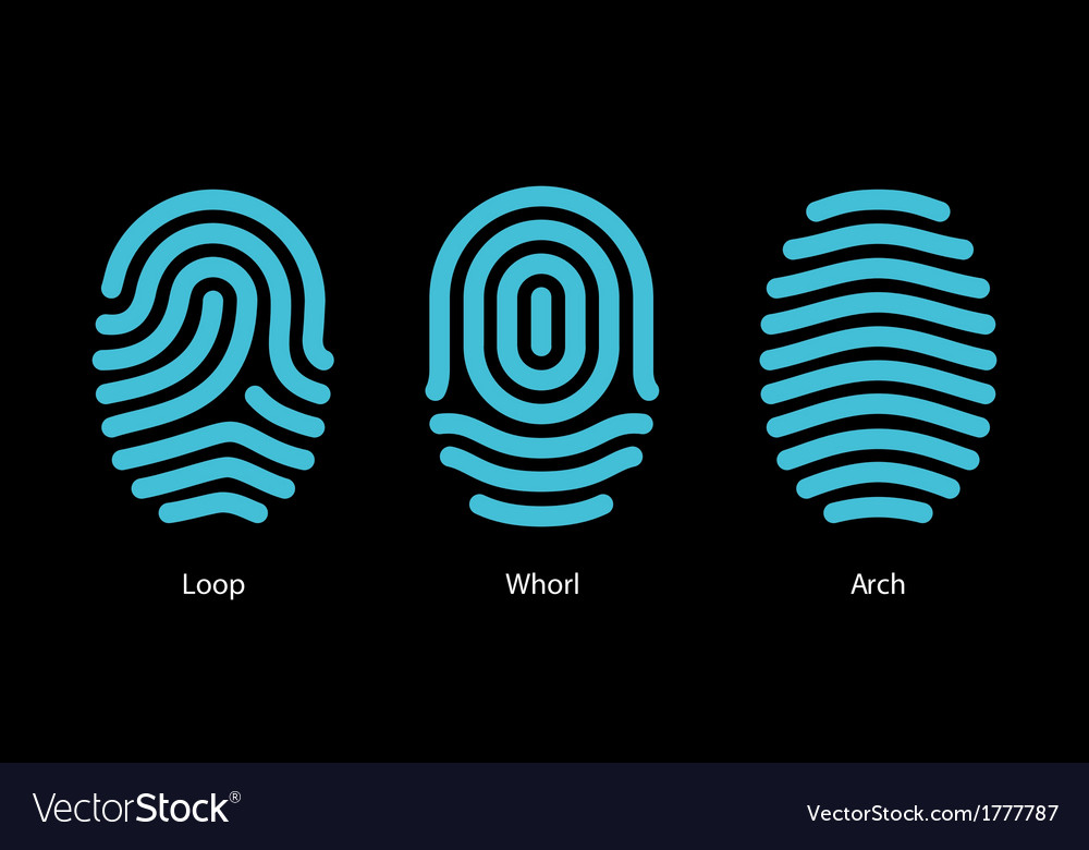 Thumbprint types on black background vector | Price: 1 Credit (USD $1)