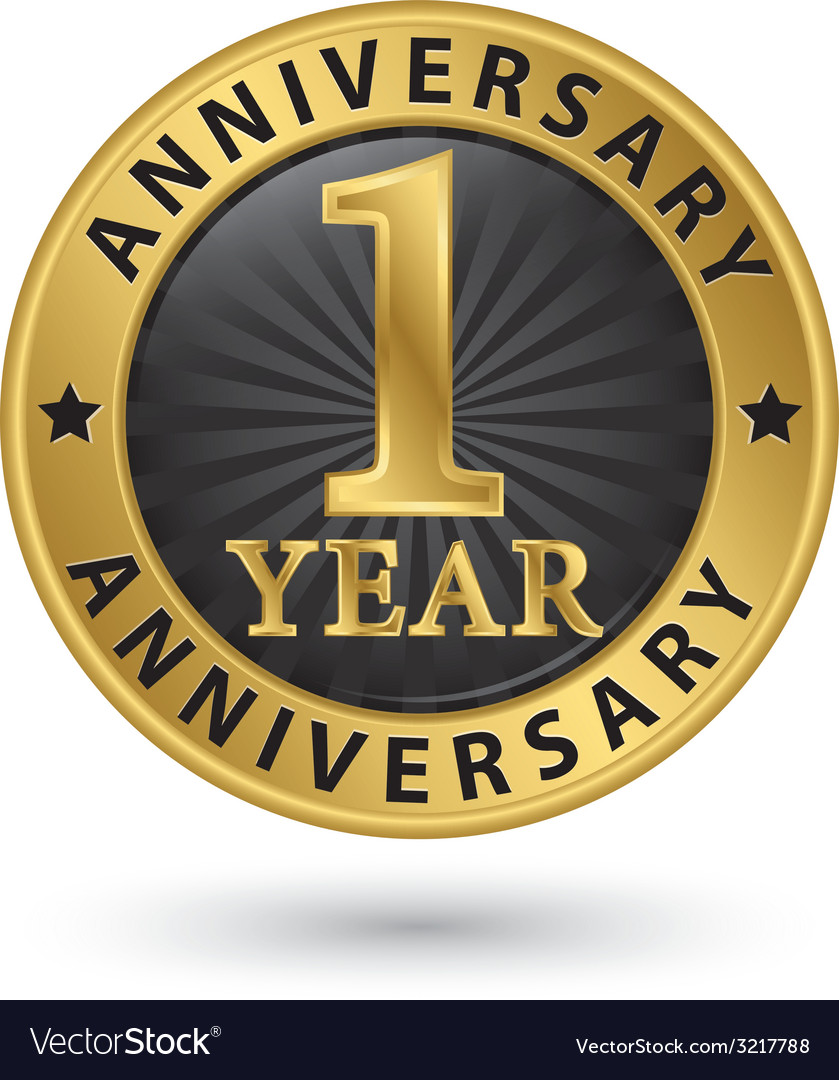 1 year anniversary gold label vector | Price: 1 Credit (USD $1)