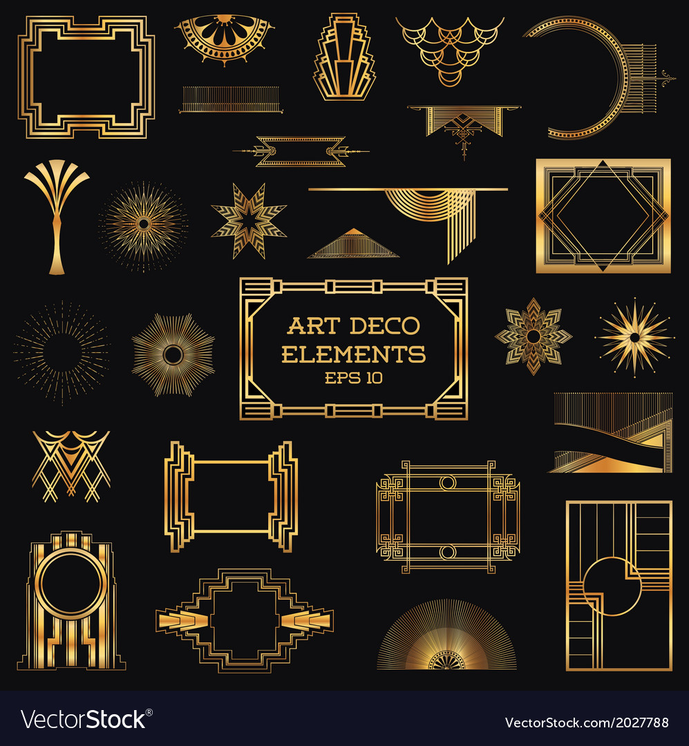 Art deco vintage frames and design elements vector | Price: 1 Credit (USD $1)