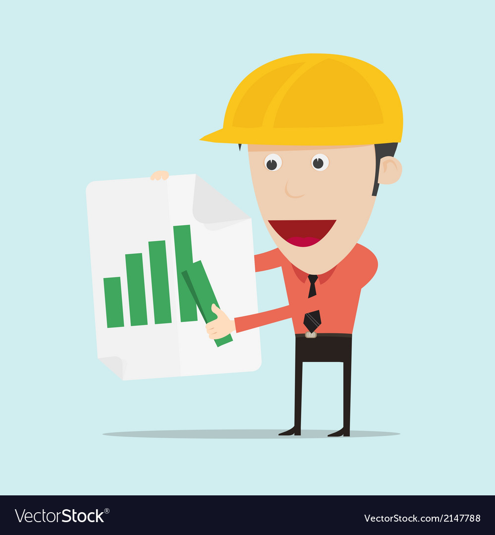 Business man and engineer show positive bar graph vector | Price: 1 Credit (USD $1)