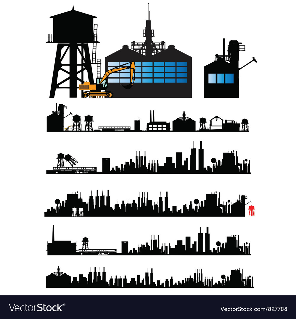 City and old factory silhouette vector | Price: 1 Credit (USD $1)
