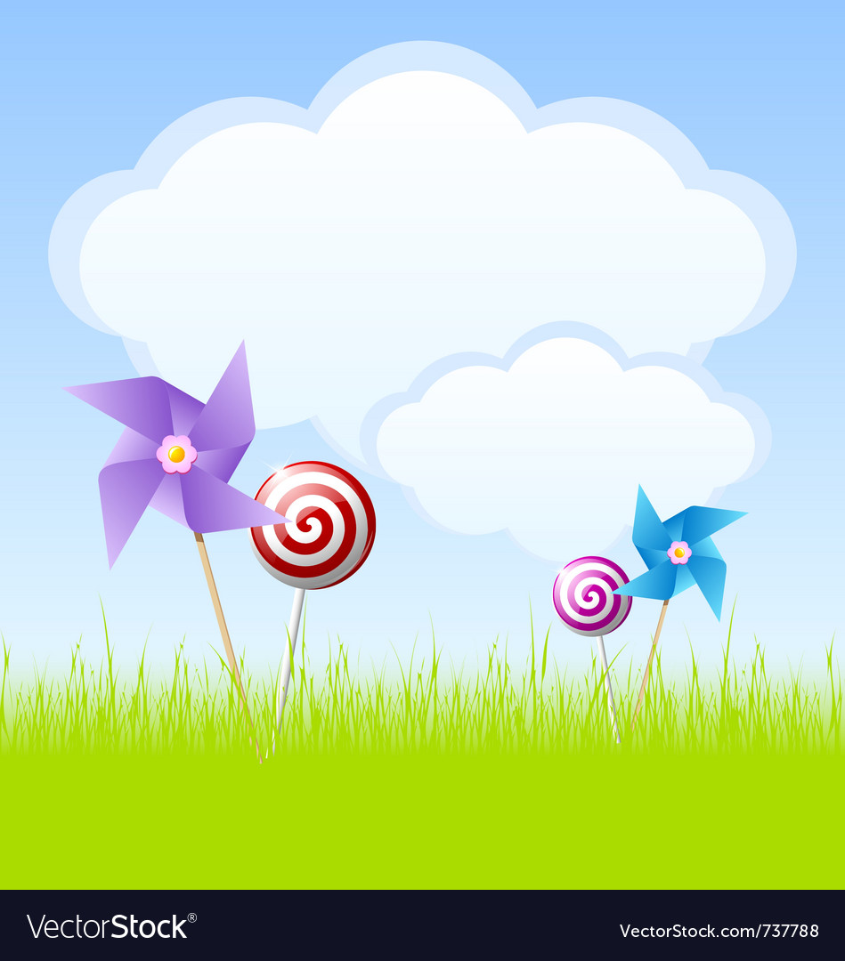 Cloudy spring scene vector | Price: 1 Credit (USD $1)