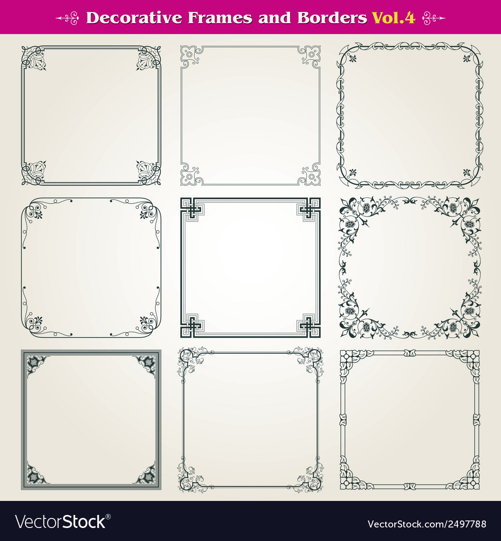 Decorative square frames and borders set 4 vector | Price: 1 Credit (USD $1)