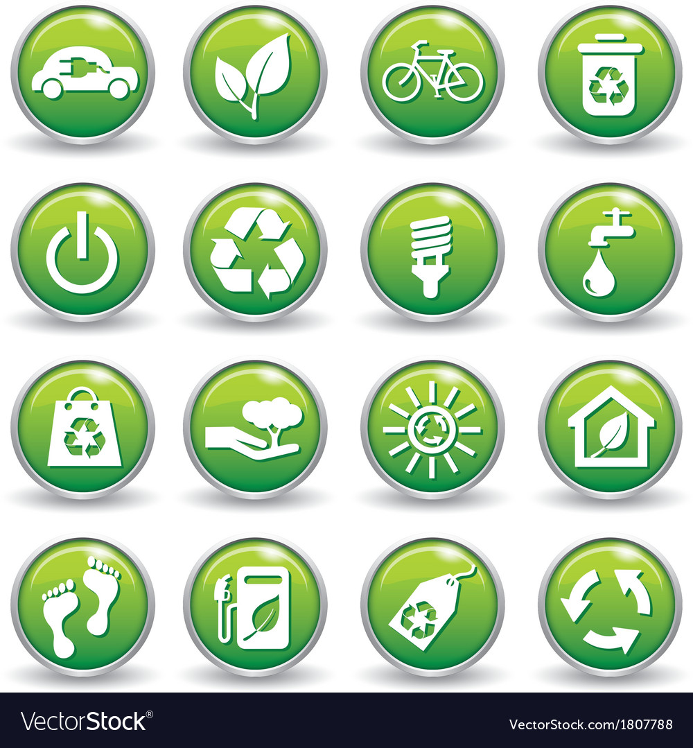 Ecology web icons green buttons ecology icon set vector | Price: 1 Credit (USD $1)