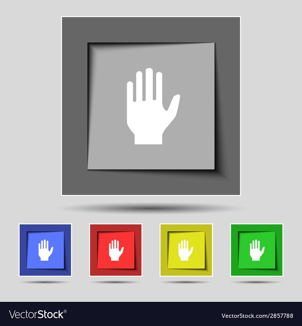 Hand print sign icon stop symbol set colour vector | Price: 1 Credit (USD $1)