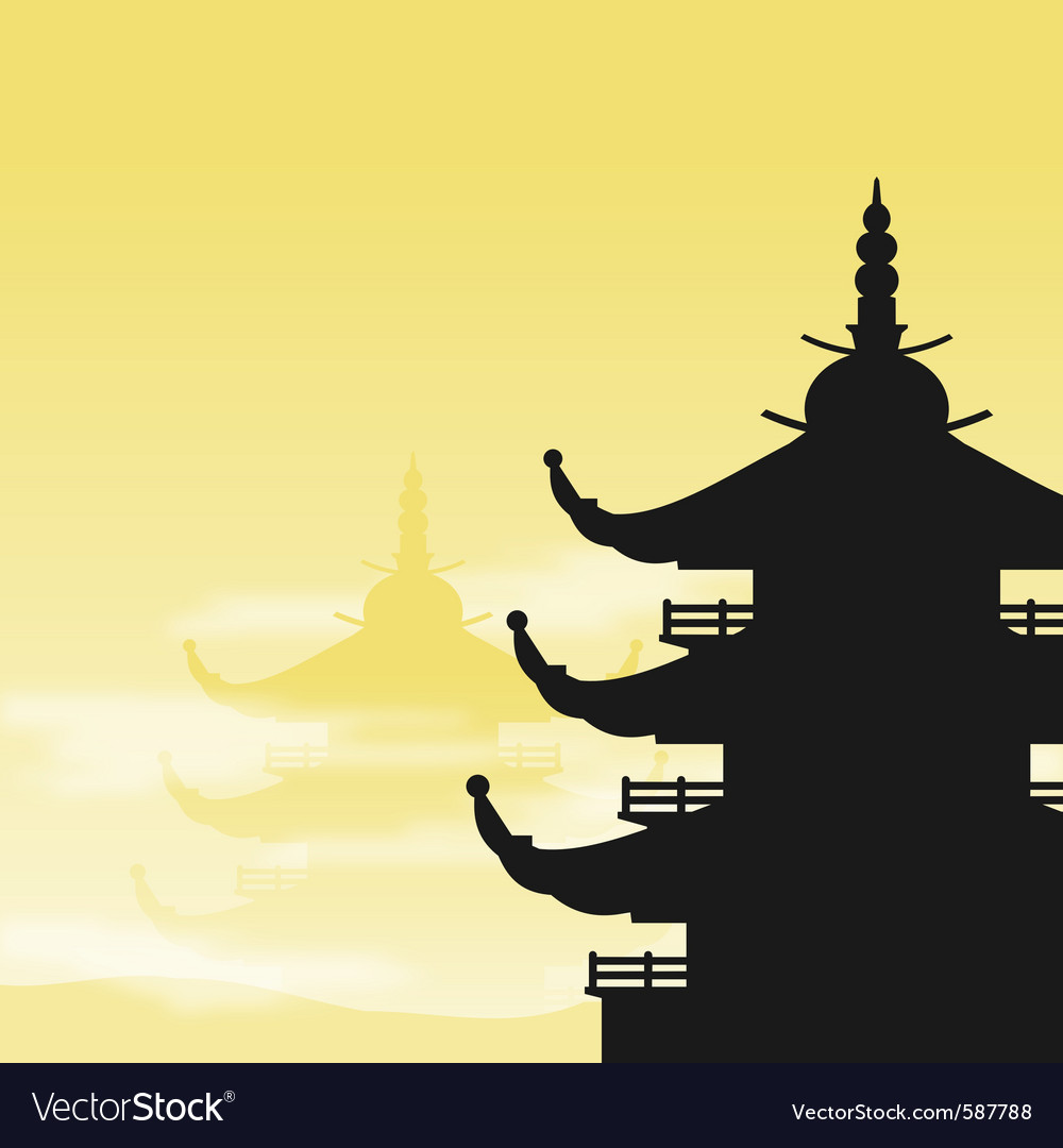 Pagoda silhouette at dawn vector | Price: 1 Credit (USD $1)