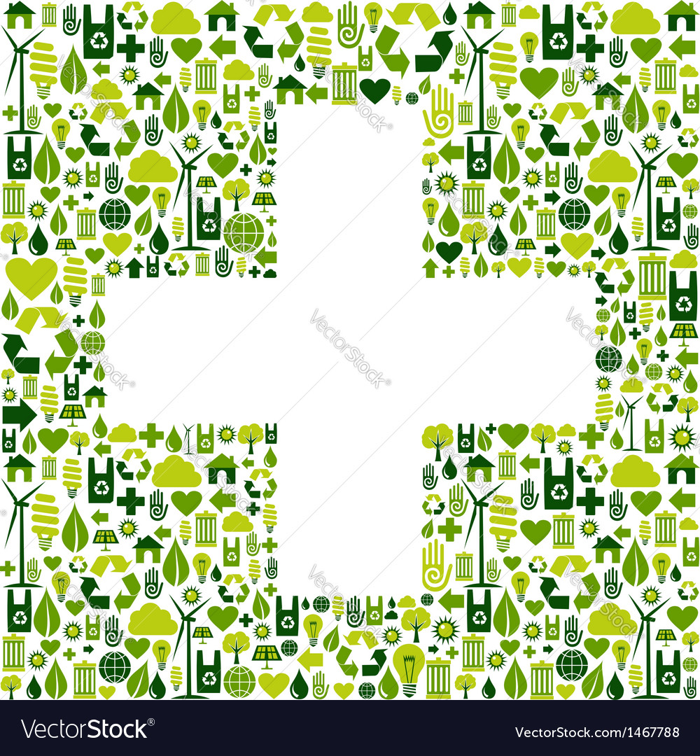 Plus symbol with environmental icons vector   Price: 1 Credit (USD $1)